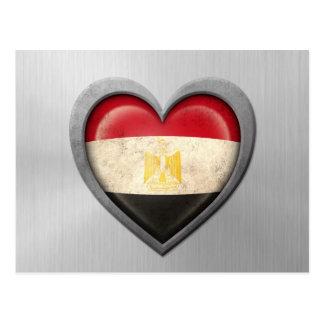 Egyptian Heart Flag Stainless Steel Effect Postcard