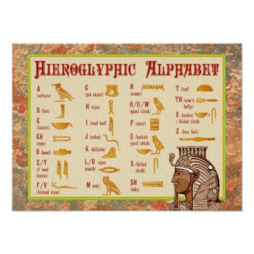 Fun with Hieroglyphs 24 Rubber Stamps Guidebook Alphabet Chart Ink Pad - Set