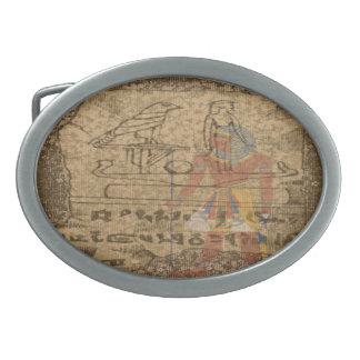 Egyptian Hieroglyphic Oval Belt Buckle
