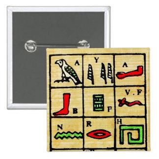 Egyptian Hieroglyphics, Alphabetic Symbols Pinback Button