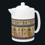 """Egyptian Hieroglyphics Tea Pot<br><div class=""""desc"""">You are viewing The Lee Hiller Design Collection. Apparel,  Gifts & Collectibles featuring fabric prints from Lee Hiller Photography,  fabric swatch collection or Digital Art Collection. You can view her Nature photography at http://HikeOurPlanet.com/ and follow her hiking blog within Hot Springs National Park.</div>"""