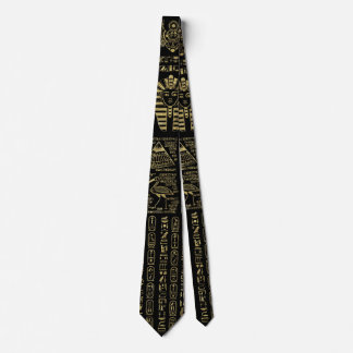 Egyptian hieroglyphs and deities gold on black neck tie