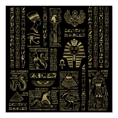 Egyptian hieroglyphs and deities gold on black poster