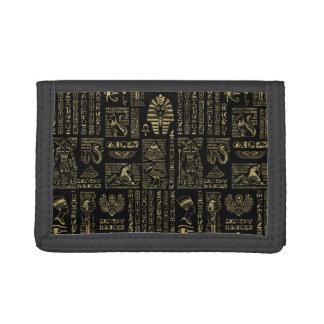 Egyptian hieroglyphs and deities gold on black trifold wallet