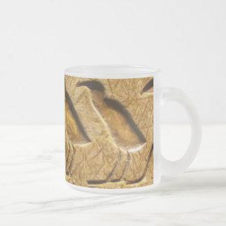 Egyptian hieroglyphs 10 oz frosted glass coffee mug