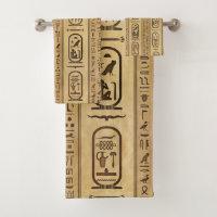 Egyptian hieroglyphs Vintage Texture Bath Towel Set