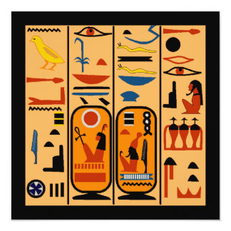 "Egyptian Hieroglyphs Your Party Details Invitation 5.25"" Square Invitation Card"