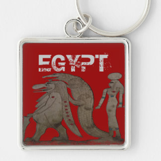 Egyptian Hippo, Croc & Isis Gifts / Greetings Silver-Colored Square Keychain