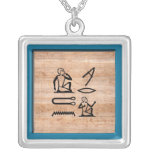 """Egyptian """"I Love You"""" (Man to Woman) Square Pendant Necklace"""