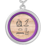 """Egyptian """"I Love You"""" (Woman to Woman) in Amethyst Round Pendant Necklace"""