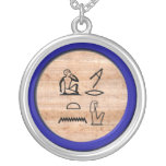 """Egyptian """"I Love You"""" (Woman to Woman) Lapis Blue Round Pendant Necklace"""
