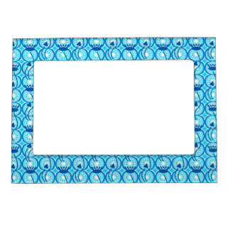 Egyptian Lotus pattern, cobalt and turquoise Magnetic Picture Frame