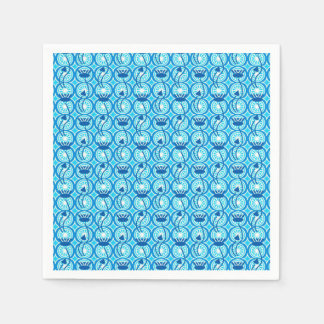Egyptian Lotus pattern, cobalt and turquoise Paper Napkin