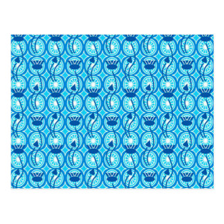 Egyptian Lotus pattern, cobalt and turquoise Postcard