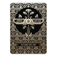 Egyptian Nouveau Wedding Invitations Gold & Black