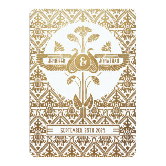 Egyptian Nouveau Wedding Invitations Gold & White