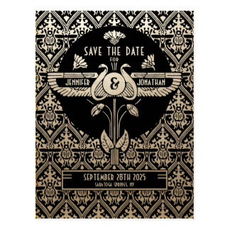 Egyptian Nouveau Wedding Save the Date Postcards