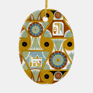 Egyptian Ornamnet #1 at Emporio Moffa Double-Sided Oval Ceramic Christmas Ornament