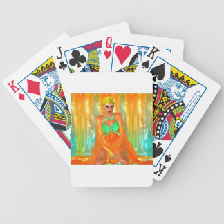 Egyptian princess in orange silks and emerald gree bicycle playing cards