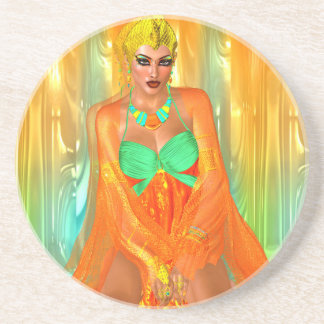 Egyptian princess in orange silks and emerald gree drink coasters