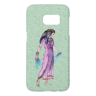 Egyptian Princess Purple Dress Blue Scarf on Green Samsung Galaxy S7 Case
