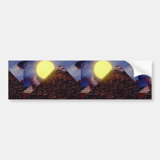 Egyptian pyramid with sun in background car bumper sticker
