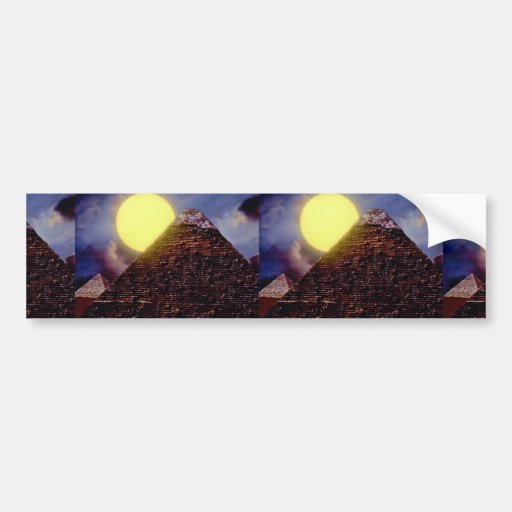 Egyptian pyramid with sun in background bumper sticker