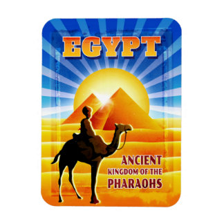 Egyptian Pyramids and Camel Travel Illustration Magnet