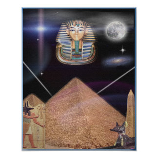 Egyptian pyramids and King Tut art Poster