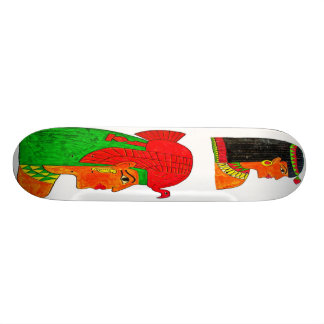 Egyptian Queens Illustration with Headdress Skateboard