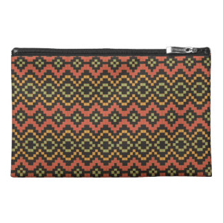 Egyptian Red Green Black Tribal Basket Weave Travel Accessory Bag