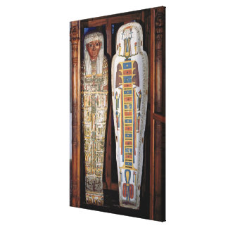 Egyptian sarcophagus covered with hieroglyphics (p stretched canvas print