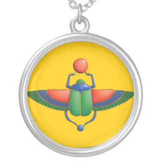 Egyptian Scarab Silver Plated Necklace