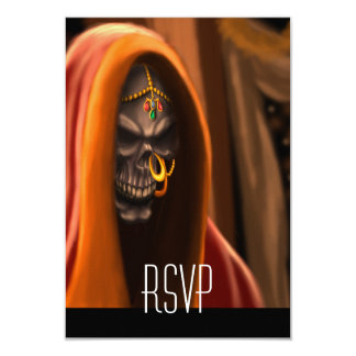 Egyptian Skull Bride Art with Nose Ring and Beads Card