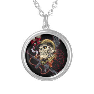 Egyptian Skull Bride Art with Nose Ring and Beads Round Pendant Necklace