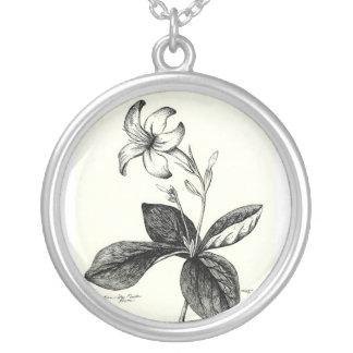 Egyptian StarFlower Sketch Round Pendant Necklace