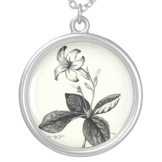 Egyptian StarFlower Sketch Silver Plated Necklace
