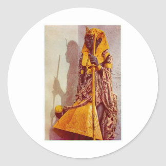egyptian statue classic round sticker