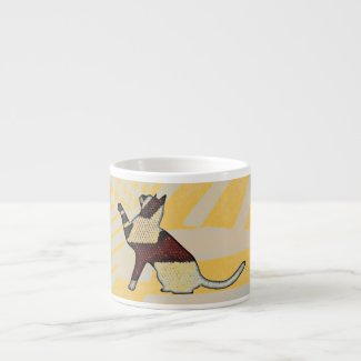 Egyptian-style cat sitting, ceramic cappuccino cup