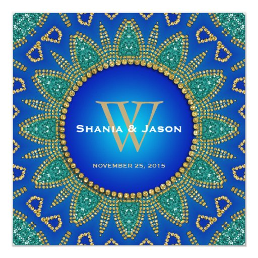 Egyptian Sun Sparkle Teal Gold Monogram Invitation