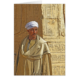 Egyptian Temple Guardian in Traditional Dress Card
