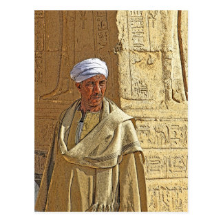 Egyptian Temple Guardian in Traditional Dress Postcard