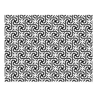 Egyptian tile pattern, black and white postcard