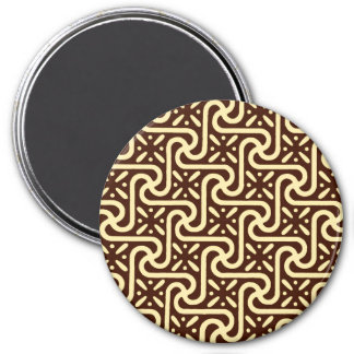 Egyptian tile pattern chocolate brown and tan refrigerator magnets