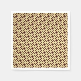 Egyptian tile pattern, chocolate brown and tan napkin