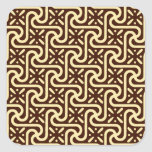 Egyptian tile pattern, chocolate brown and tan stickers