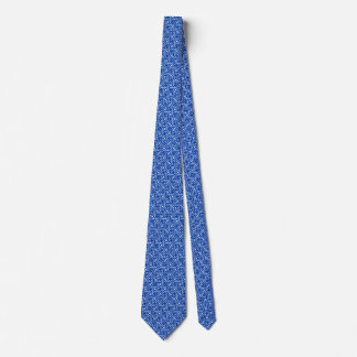 Egyptian tile pattern, cobalt blue and white tie