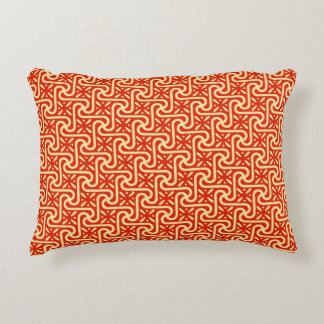 Egyptian tile pattern, coral orange accent pillow