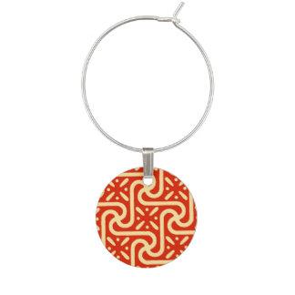 Egyptian tile pattern, coral orange wine charm