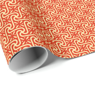 Egyptian tile pattern, coral orange wrapping paper